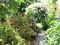 Rosenrabatte und Rosenbogen Garten
